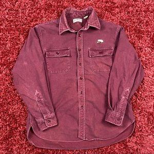 Vintage LL Bean Maroon Spear Chamois LS Shirt 16.5